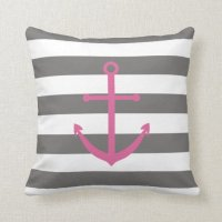 Dark Grey and Pink Anchor Pillow | Zazzle