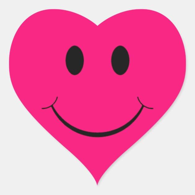 Dark Pink Heart Smiley Face Stickers Zazzle