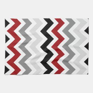 gray kitchen towels copper sinks red and dark hand zazzle black white chevron