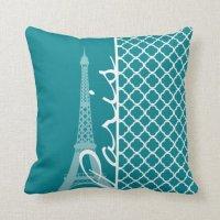 Dark Turquoise Quatrefoil; Eiffel Tower, Paris Throw Pillow