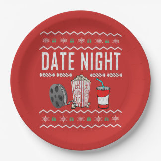 Date Night Ugly Christmas Sweater Paper Plate