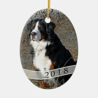 Dated Oval Dog Photo Christmas Ornament