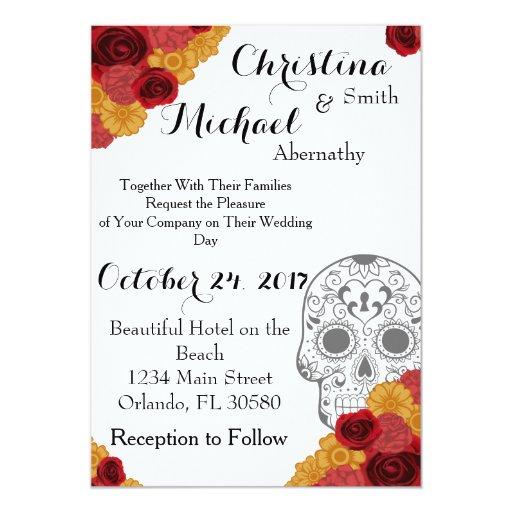 Dia De Los Muertos Wedding Invitations Day Of The Dead Invitation Zazzle