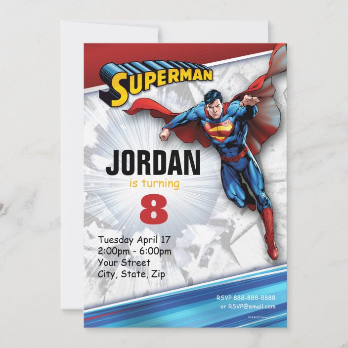 dc comics superman birthday invitation zazzle com