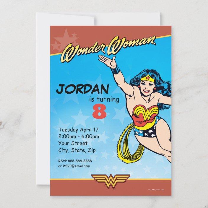 dc comics wonder woman birthday invitation zazzle com