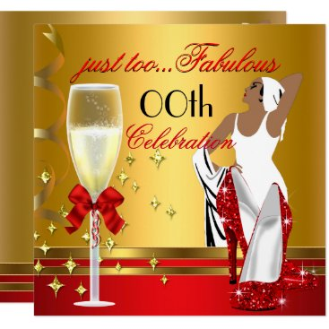 Deco Lady Red Gold Too Fabulous Birthday Party Card