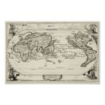 Decorative Replica 16th Century Antique World Map Poster Zazzle Com