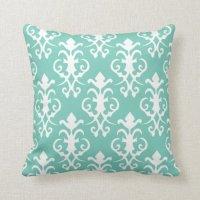 Decorative Turquoise Damask Pillow | Zazzle