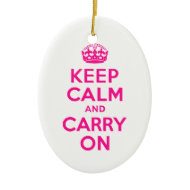 Deep Pink Keep Calm and Carry On Ornament