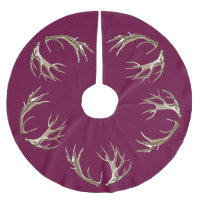 Deer Antlers Burgundy Christmas Tree Skirt