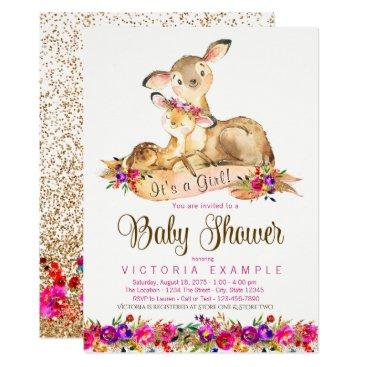 Deer Baby Girl Shower Invitations