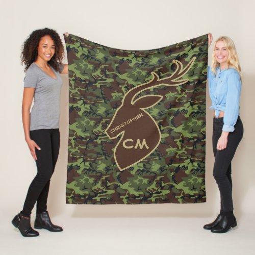 Deer Buck Camouflage Add Name Initials Brown Fleece Blanket