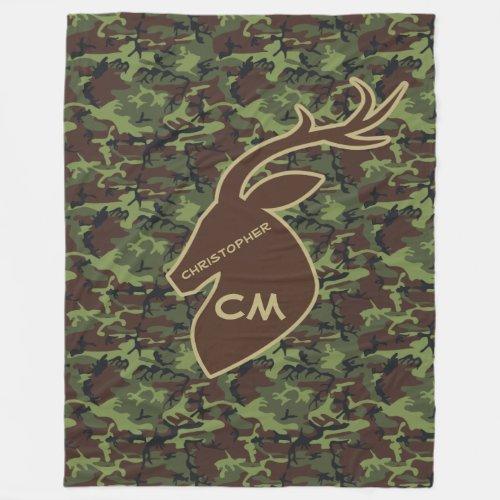 Deer Buck Camouflage Add Name Initials Fleece Blanket