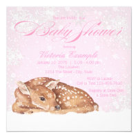 Deer Fawn Winter Wonderland Baby Shower Invitation