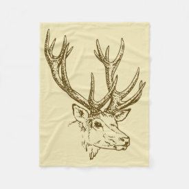 Deer Head Illustration Graphic Fleece Blanket