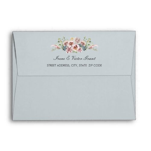 Delicate Anemone Flowers Gray Blue Wedding | A7 Envelope