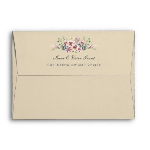 Delicate Anemone Flowers Neutral pink Wedding | A7 Envelope