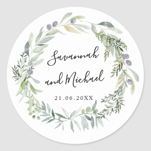 Delicate painted olive and leaves wedding monogram classic round sticker