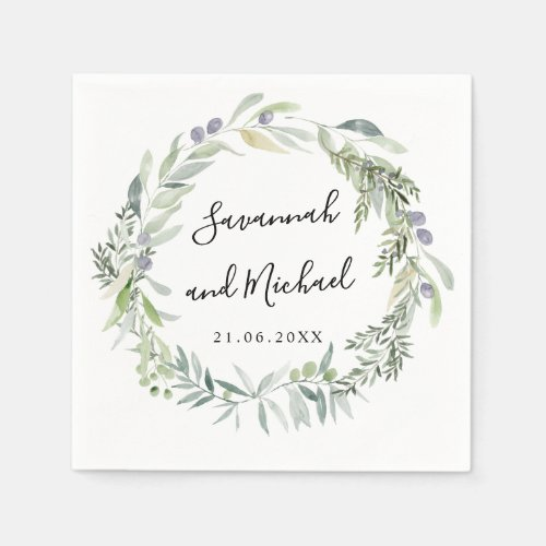 Delicate painted olive and leaves wedding monogram napkin