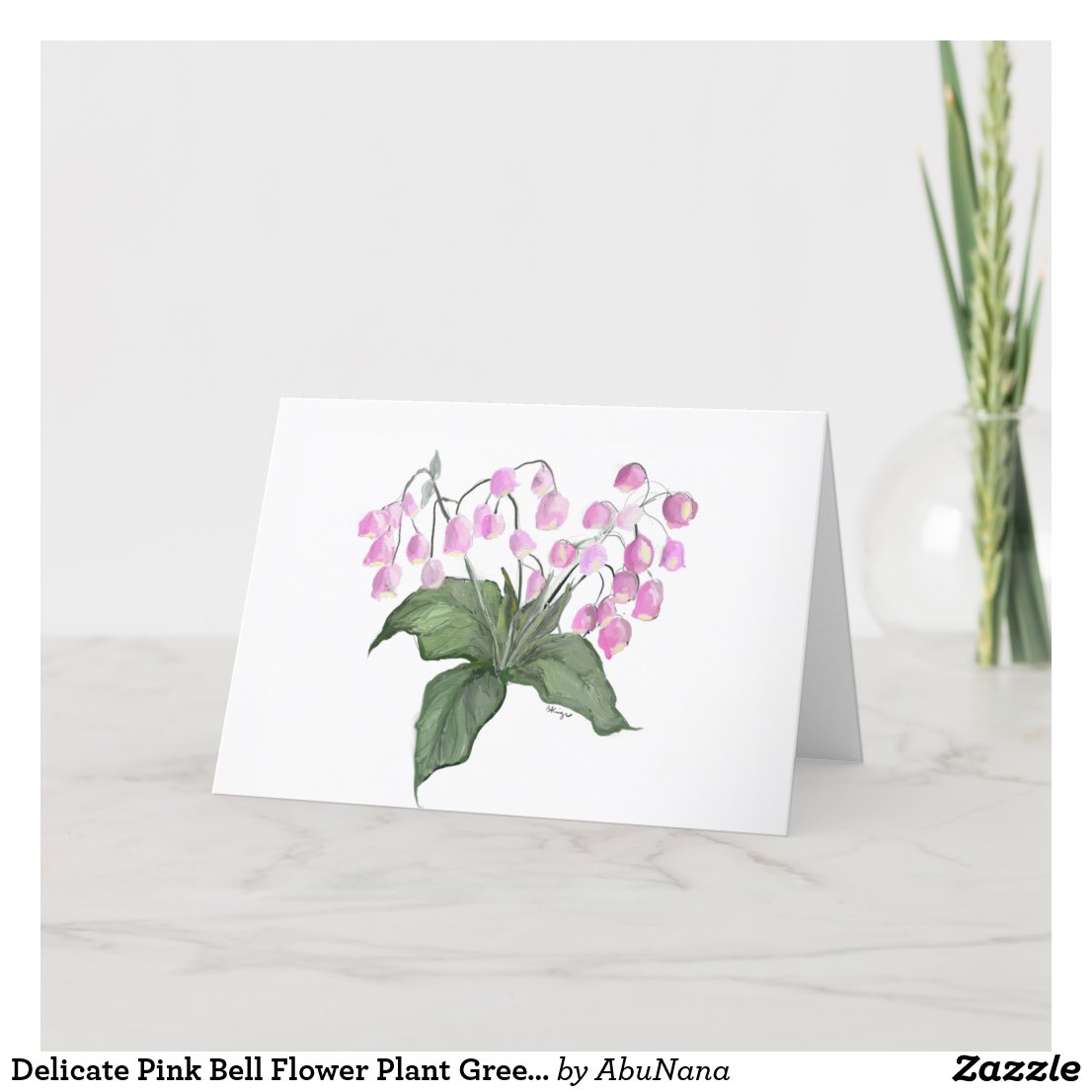 Delicate Pink Bell Flower Plant Greeting Card