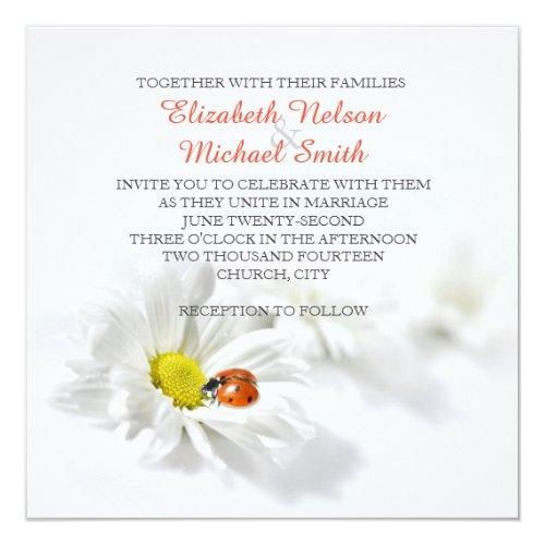 Delicate Spring Daisy Ladybug Wedding Invitation