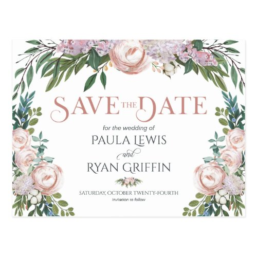 Delicate Watercolor Floral Bloom Save the Date Postcard