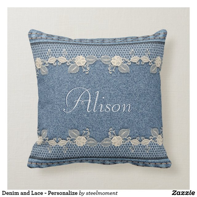 Denim and Lace - Personalize Throw Pillow
