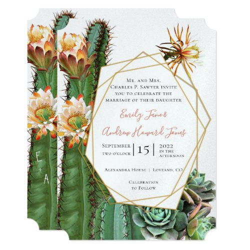 Desert Cactus Succulent Gold Geometric Metallic Invitation