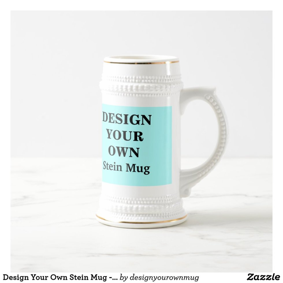Design Your Own Stein Mug - Light Blue and White
