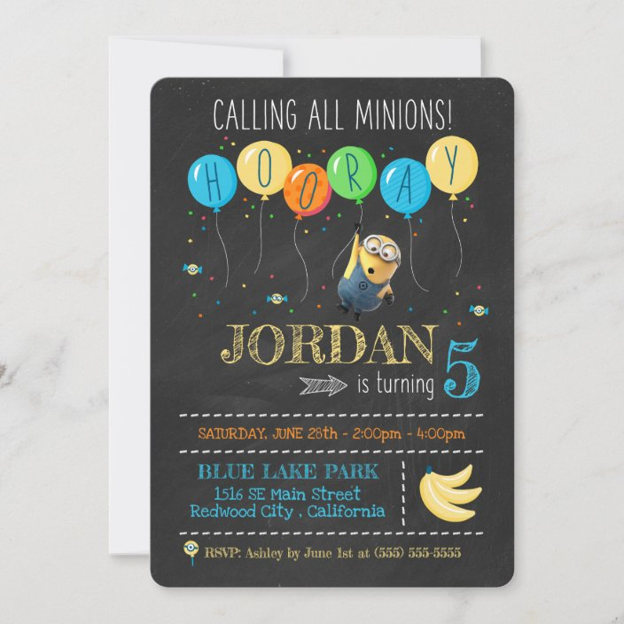 despicable me minion chalkboard birthday invitation zazzle com