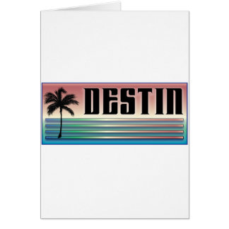Destin Retro Rainbow and Palm Tree Greeting Card