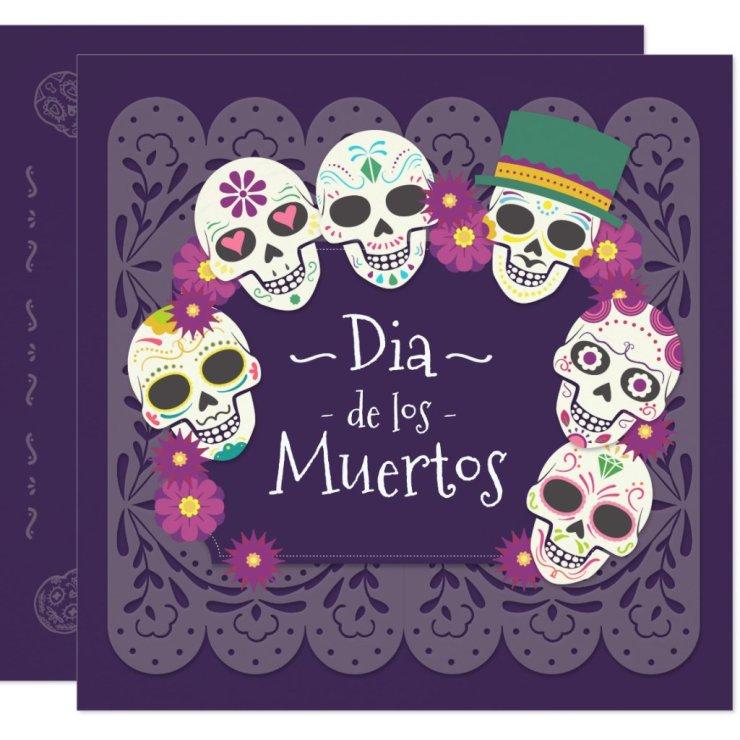 Dia de los Muertos Pink Floral Skulls | Invitation
