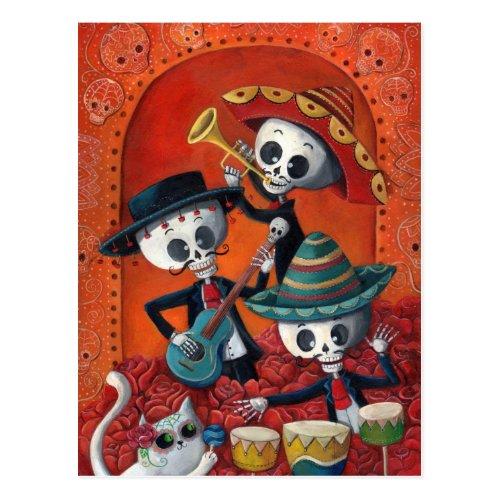 Dia de Los Muertos Skeleton Mariachi Trio Postcard