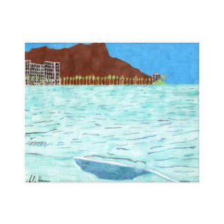 Diamond Head and Waikiki Beach by Julia Hanna Canvas Print