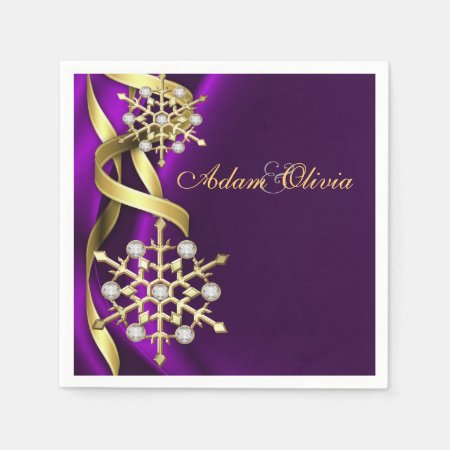 Diamond Snowflake Purple Wedding Disposable Napkins