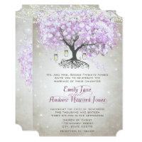 Die Cut Mason Jar Lavender Leaf Tree Wedding Card