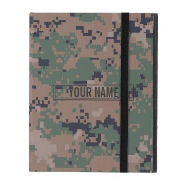 Digital Woodland Camouflage Customizable iPad Cover