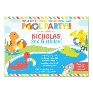 Dino Pool Party Invitation, Pool Party Invite