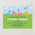 ❤️ Sweet Colorful Dinosaur 1st Birthday Invitation
