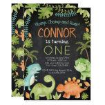 ❤️ Cute Dinosaur Friends 1st Birthday Party Invitation