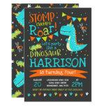 Stomp, Chomp & Roar Dinosaur Birthday Party Invitation (Black)