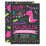 Stomp, Chomp & Roar Pink Dinosaur Birthday Party Invitation (Black)