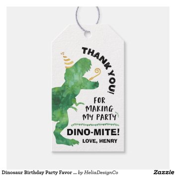 Dinosaur Birthday Party Favor Gift Tags