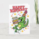 ❤️ Fun Green Dinosaur With Cake Happy Birthday Card