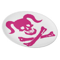 Dirty Girly Pink Skull on White Plate on Zazzle