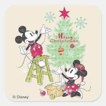 Disney   Mickey & Minnie   Classic Christmas Tree Square Sticker