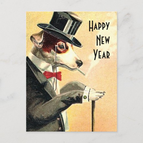 Distinguished Dog New Year Wishes Holiday Postcard