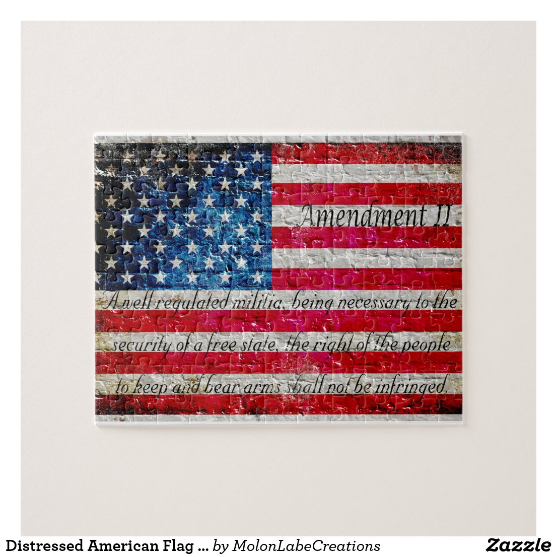 Distressed American Flag And Second Amendment Jigsaw Puzzle