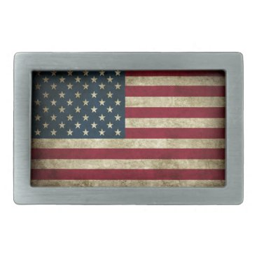 Distressed American Flag Rectangular Belt Buckle