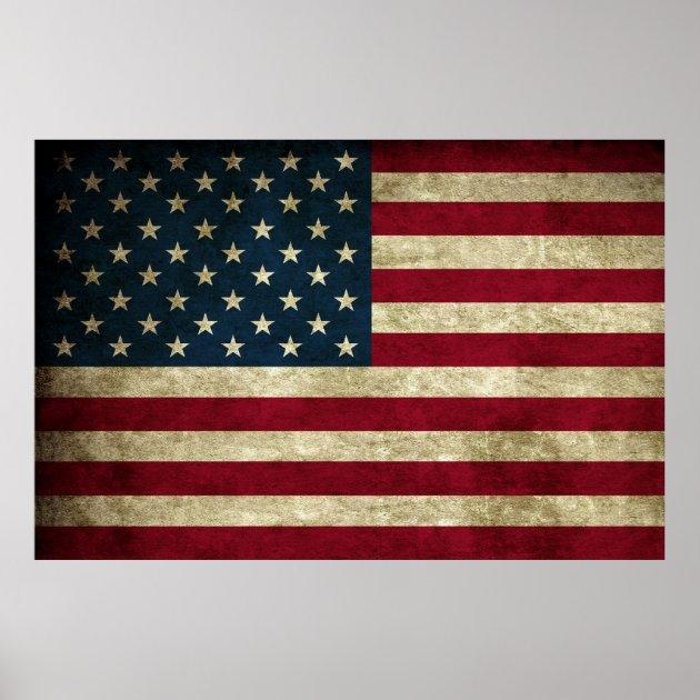 Distressed Rustic American 50 Star Flag Print  Zazzle